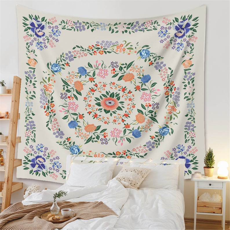 Mandala Floral Tapestry,Wall hangings Tapestry,Wall Art Tapestries,wall decor tapestry,Living room,bedroom background decor
