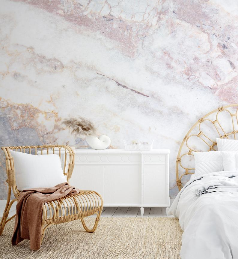 Marble Wallpaper, Scandinavian Style, Marble Look Wall Mural, White and Pink, Removable, Self Adhesive, Peel and Stick, Room Wall Print