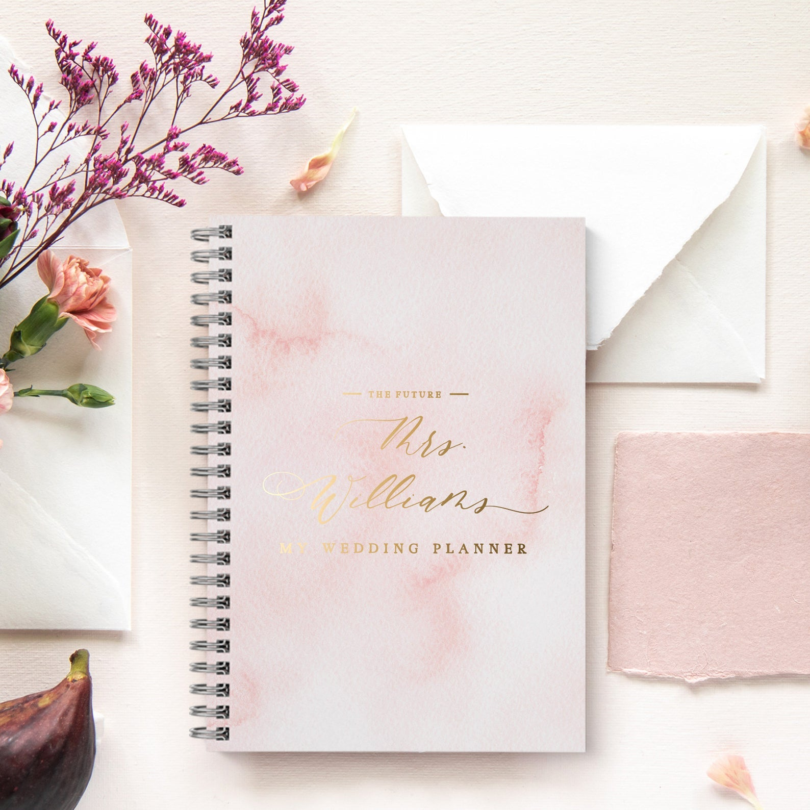 Watercolor Gold Foil Wedding Planner - Wedding Planner Book