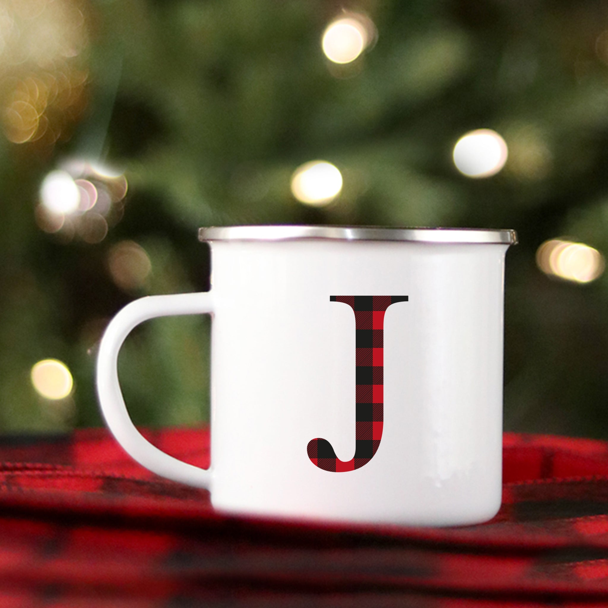 Buffalo Plaid Monogram Mug - Plaid Campfire Mug - Pretty Collected