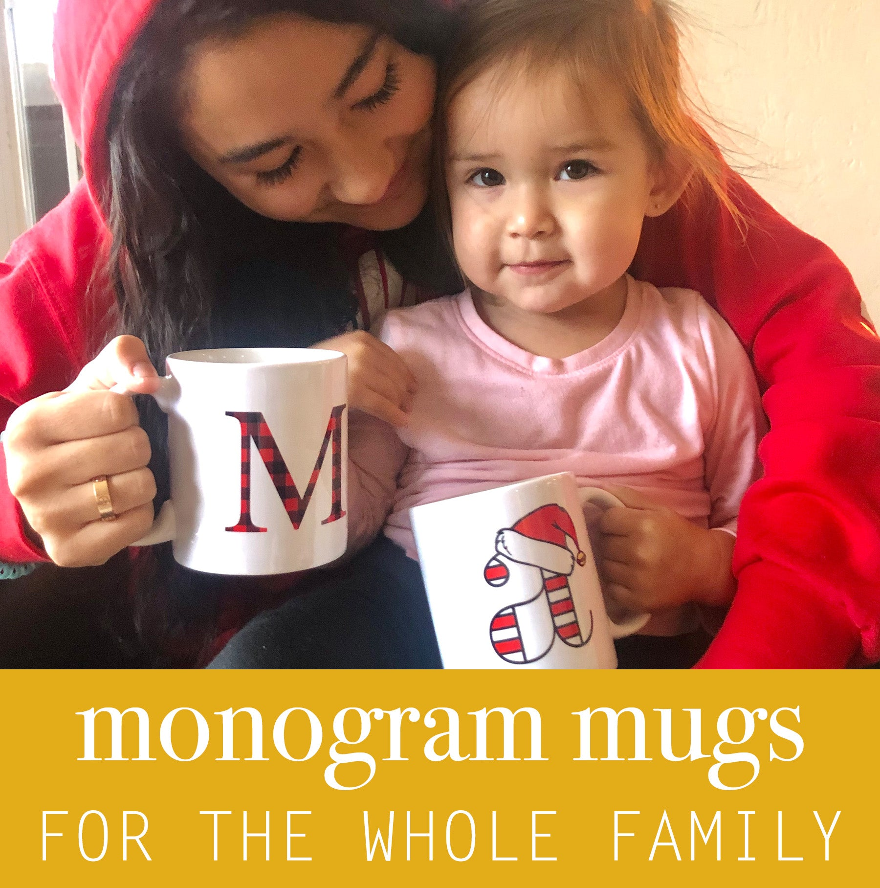 Monogram Mugs - Christmas Mugs - Holiday Mugs - Letter Mug - Pretty Collected