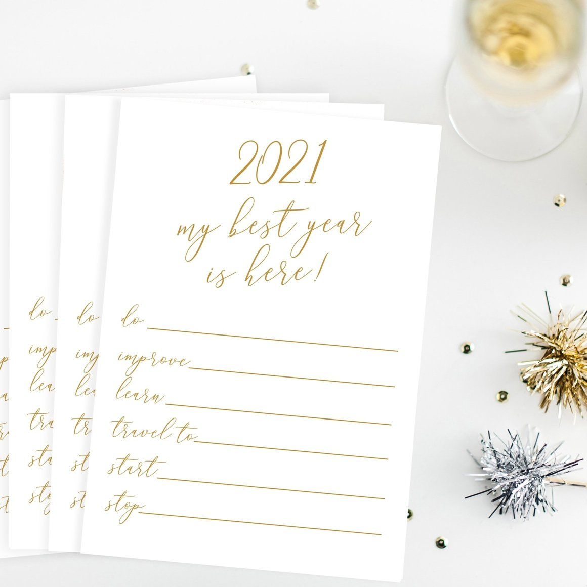 New Year's Resolutions Printable Cards, Inspirational New Year's Resolutions Card