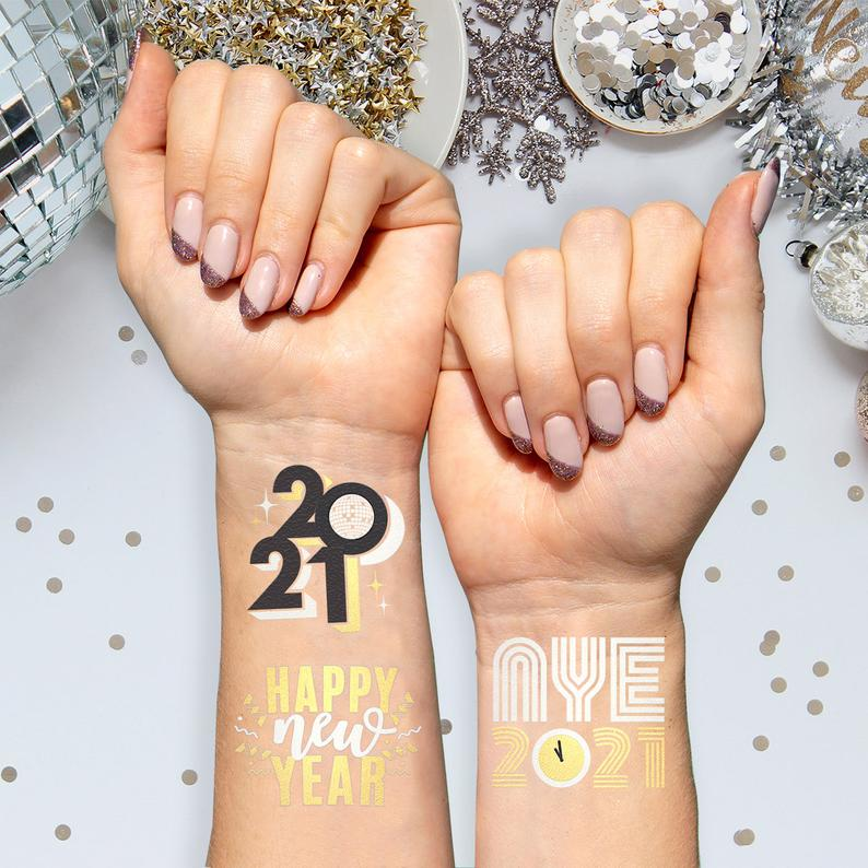 New Years Eve Party Supplies Tattoos - 24 NYE Metallic Temporary Tattoos | NYE Party Favors, Happy New Year Decorations, NYE 2021 Decor