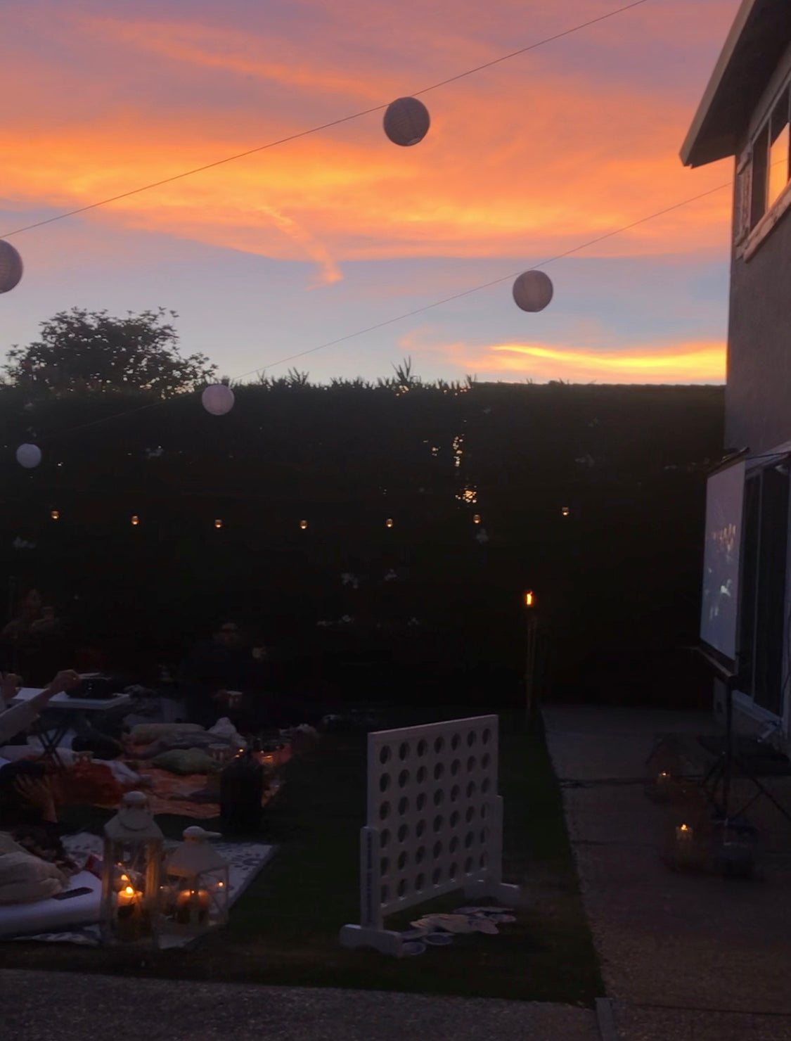Sunset for Outdoor Movie Night - Backyard Movie Night Birthday - Pretty Collected