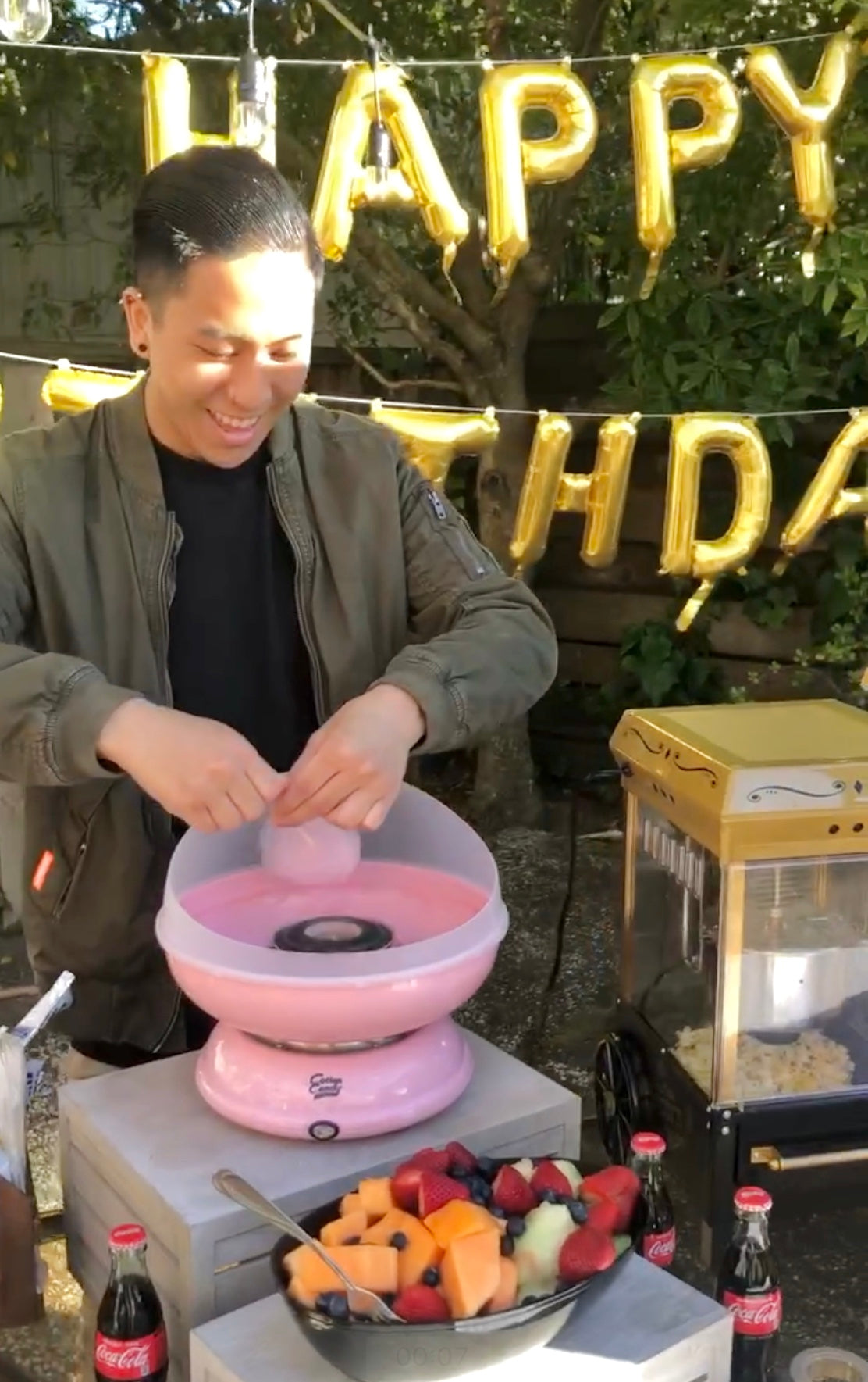 Cotton Candy Machine at Outdoor Movie Night - Boho Birthday - Pretty Collected