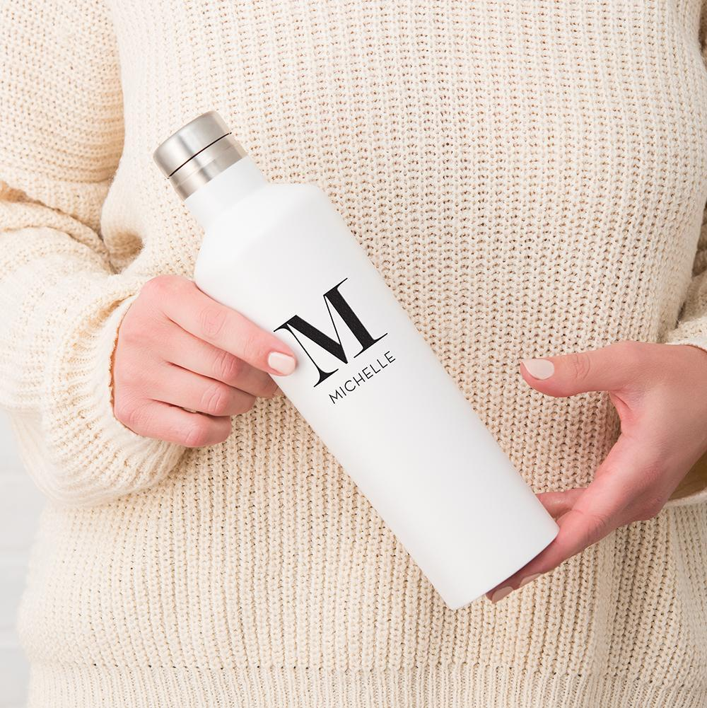 PERSONALIZED INITIAL STAINLESS STEEL WATER BOTTLE - WHITE - PERSONALIZED - GIFTS - CHRISTMAS GIFTS