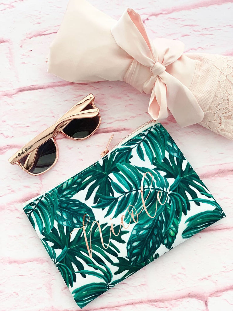 Palm Leaf Makeup Bag | Palm Leaf Bachelorette | Tropical Bachelorette Party Favors Tropical Bridesmaid Gifts Beach Bachelorette