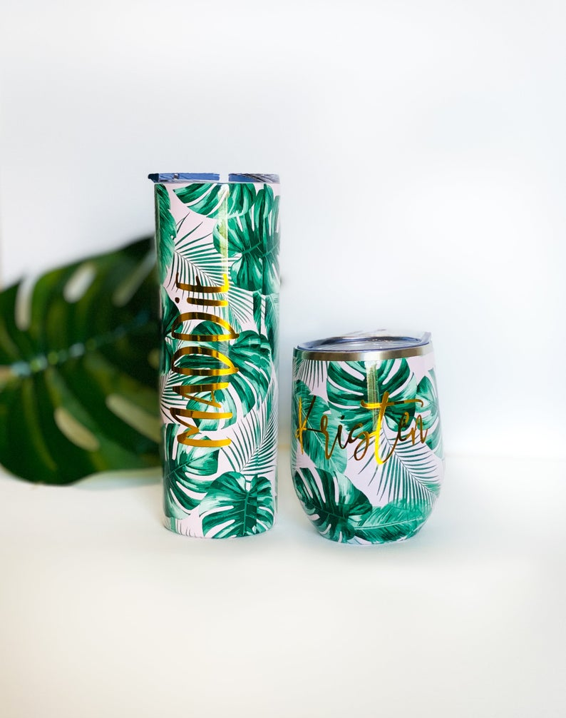 Palm tree destination wedding tropical wedding Pink Banana Leaf Tumbler Palm Leaf Bachelorette Party Gift Tropical Bridesmaid Gift Beach