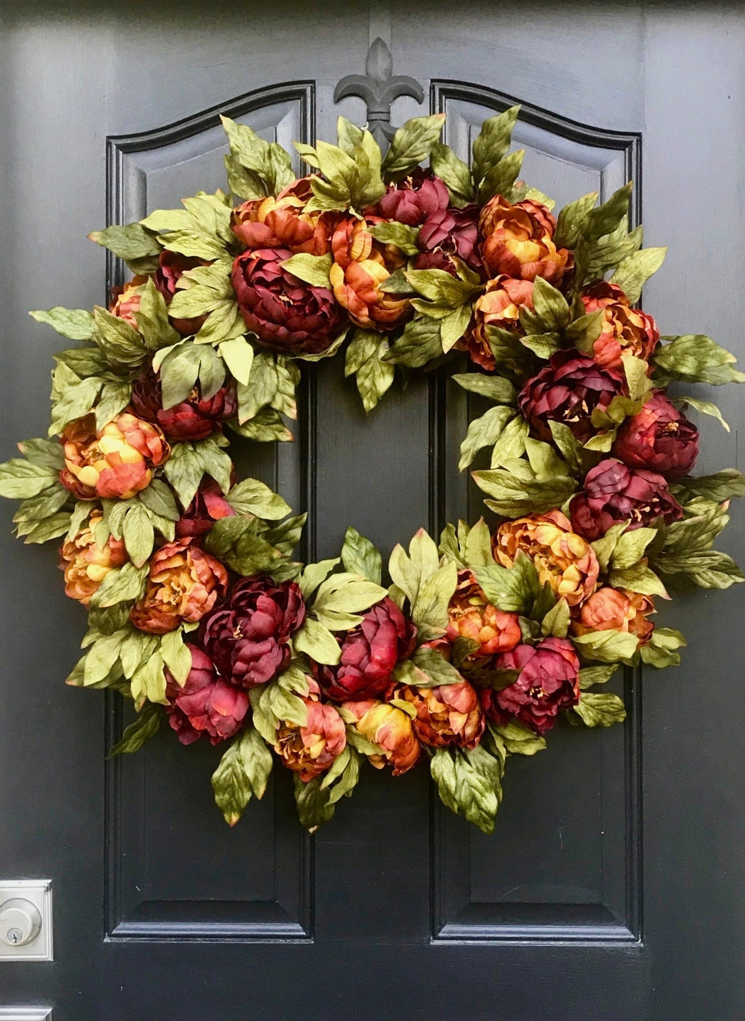 Fall Wreath for Front Door - Rustic Peony Fall Wreath