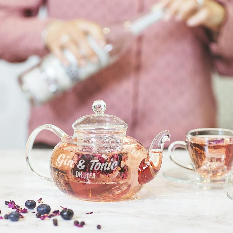Personalised Glass Teapot And Teacup Set -  Personalized Gin & Tonic Teapot Set - Gin Lover Birthday Gift For Her