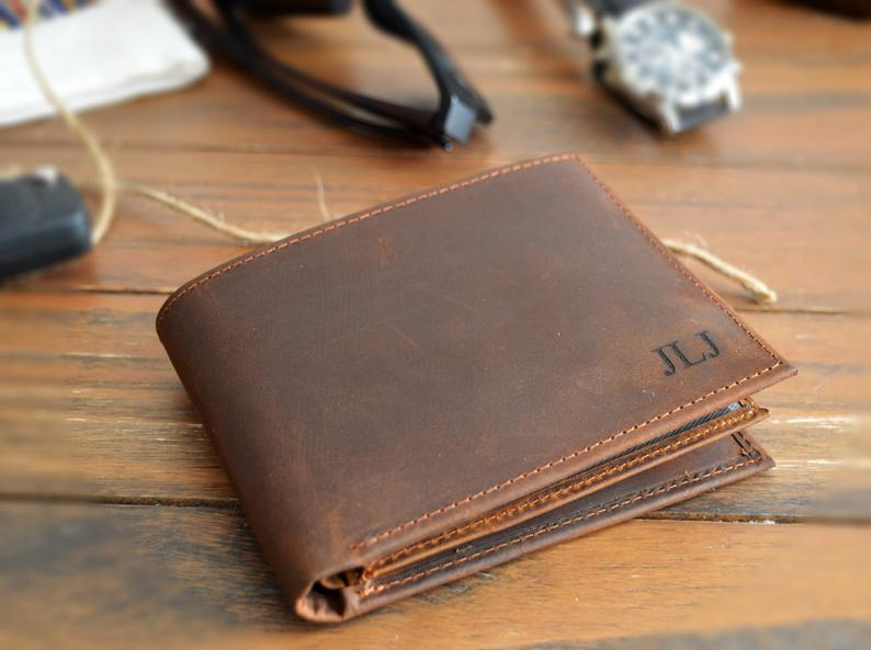 Personalized Mens Full Grain Leather Wallet l Custom Cowhide Leather Wallet l Anniversary Gift for Him Boyfriend l RFID Blocking Technology