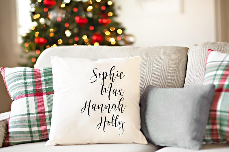 Personalized Throw Pillow Covers, Decorative Pillows, Unique Christmas Holiday Gifts for Mom, Parents, Grandparents (Family Names)