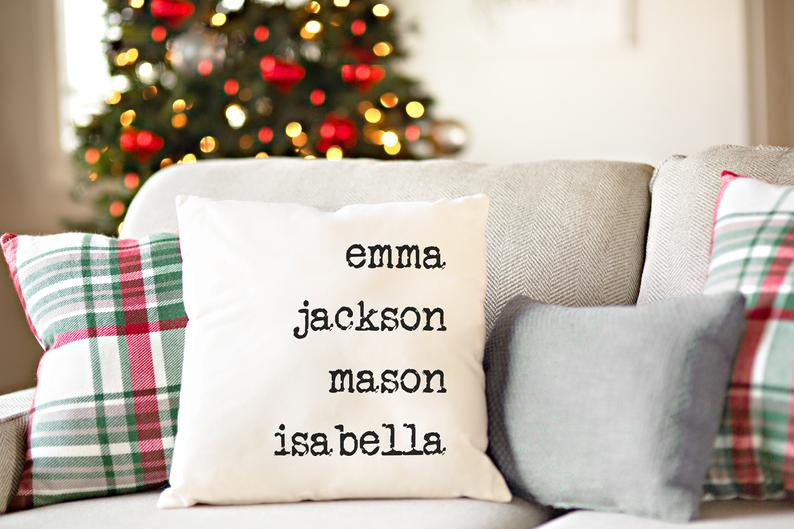 Personalized Throw Pillow Covers, Decorative Pillows, Unique Christmas Holiday Gifts for Mom, Parents, Grandparents
