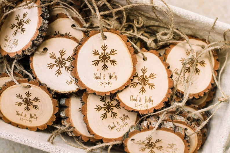 Personalized holiday favors, snowflake wood slice ornaments, rustic wedding favors, holiday wedding favors, custom wedding favors