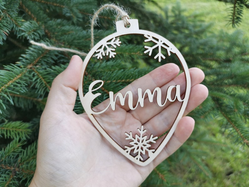 Personalized name CHRISTMAS ornaments Custom baubles set, Wooden PERSONALISED hanging gift, Laser cut snowflakes CHRISTMAS tree, C12