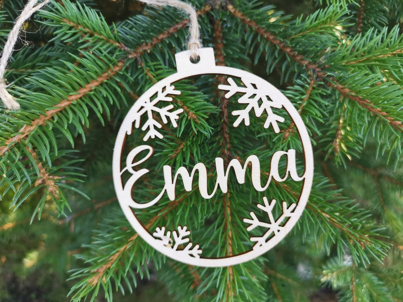 Personalized name ornaments Custom CHRISTMAS baubles set, Wooden hanging PERSONALIZED gift, Laser cut snowflakes CHRISTMAS tree, C12
