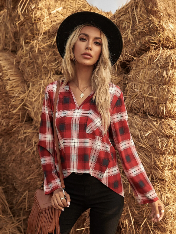 Plaid Pocket Patched High Low Blouse - Fall Outfits - Pumpkin Patch Outfit