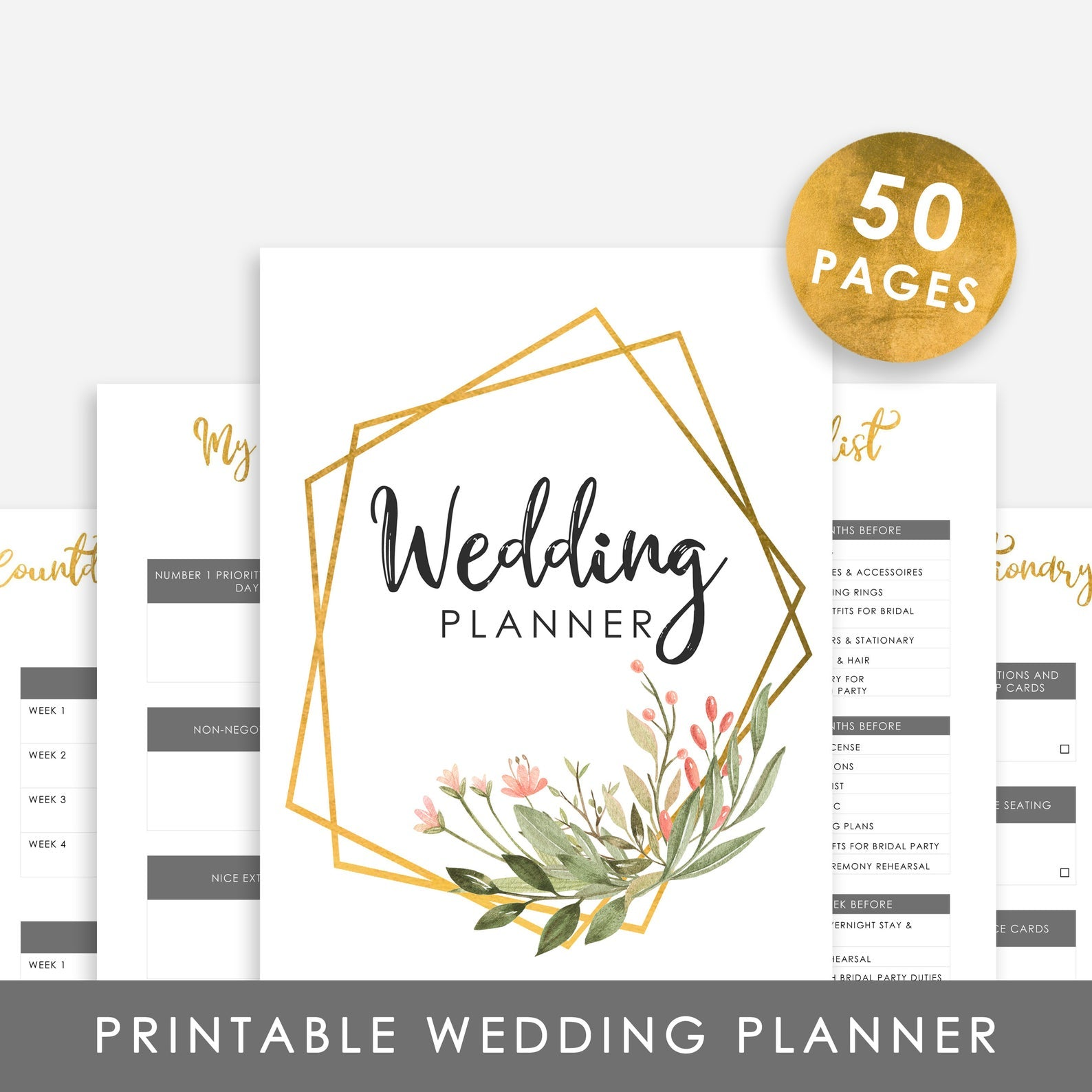 Printable Wedding Planner - Digital Wedding Planner - Boho Wedding Planner
