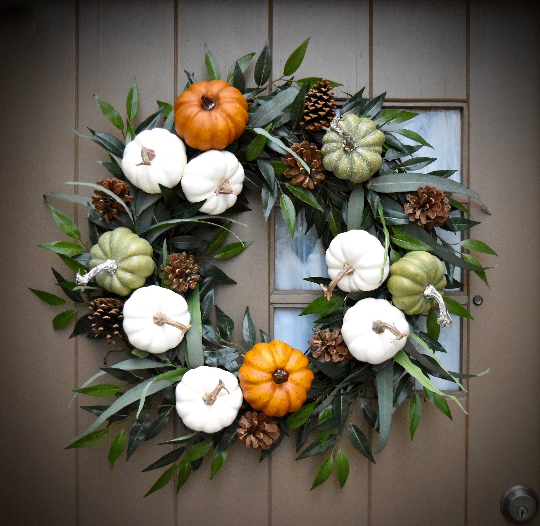 Pumpkin Wreath - Eucalyptus Wreath - Fall Wreath - Autumn Wreath - Fall Decor