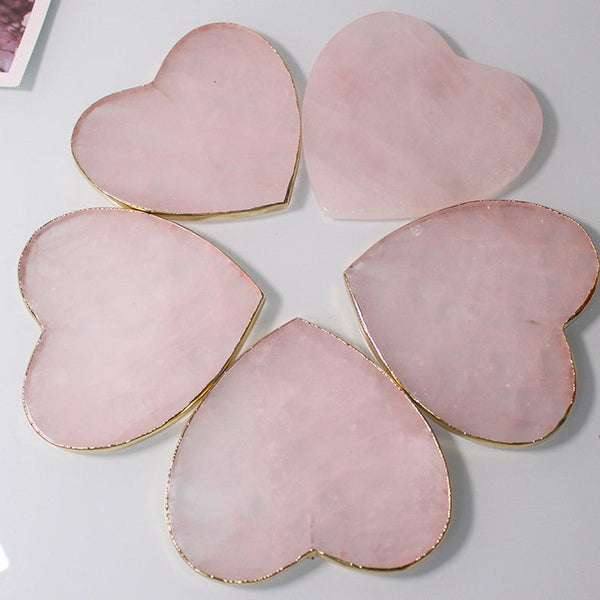 Rose Quartz Coaster Heart Crystal Coasters,Stone Heart Rose Quartz Slices Jewelry Craft,Crystal Coaster, Quartz,Bridesmaids Gift