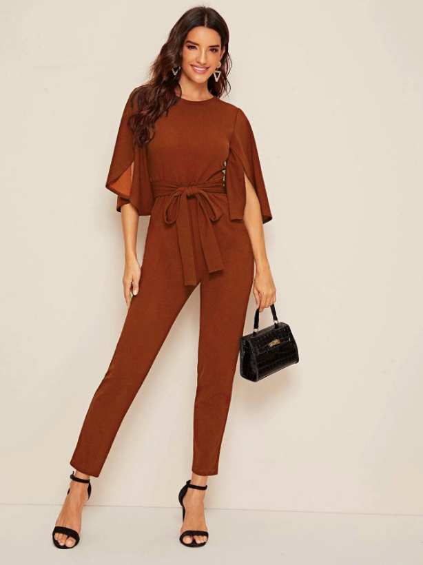 SHEIN Split Sleeve Solid Belted Jumpsuit - Fall Outfit - Girls Night Out Outfit
