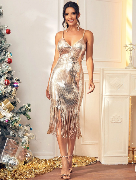 Gold Dress - Party Dress - New Years - New Years Dress