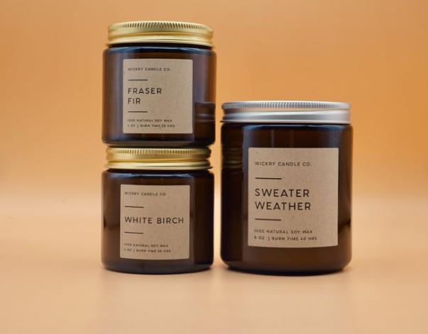 Sweater Weather Candle, Amber Jar Soy Candle, Winter Woodsy Candle, Fall Candle in Jar