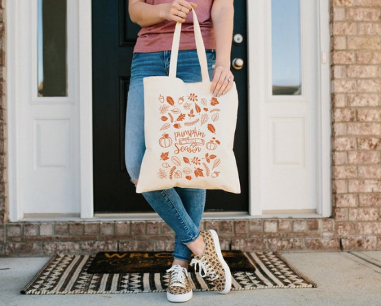 Fall Tote Bag, Pumpkin Spice Season Canvas Reusable Grocery Shopping Bag, Autumn Leaves Shoulder Bag, Gifts for Her, Entryway Decor