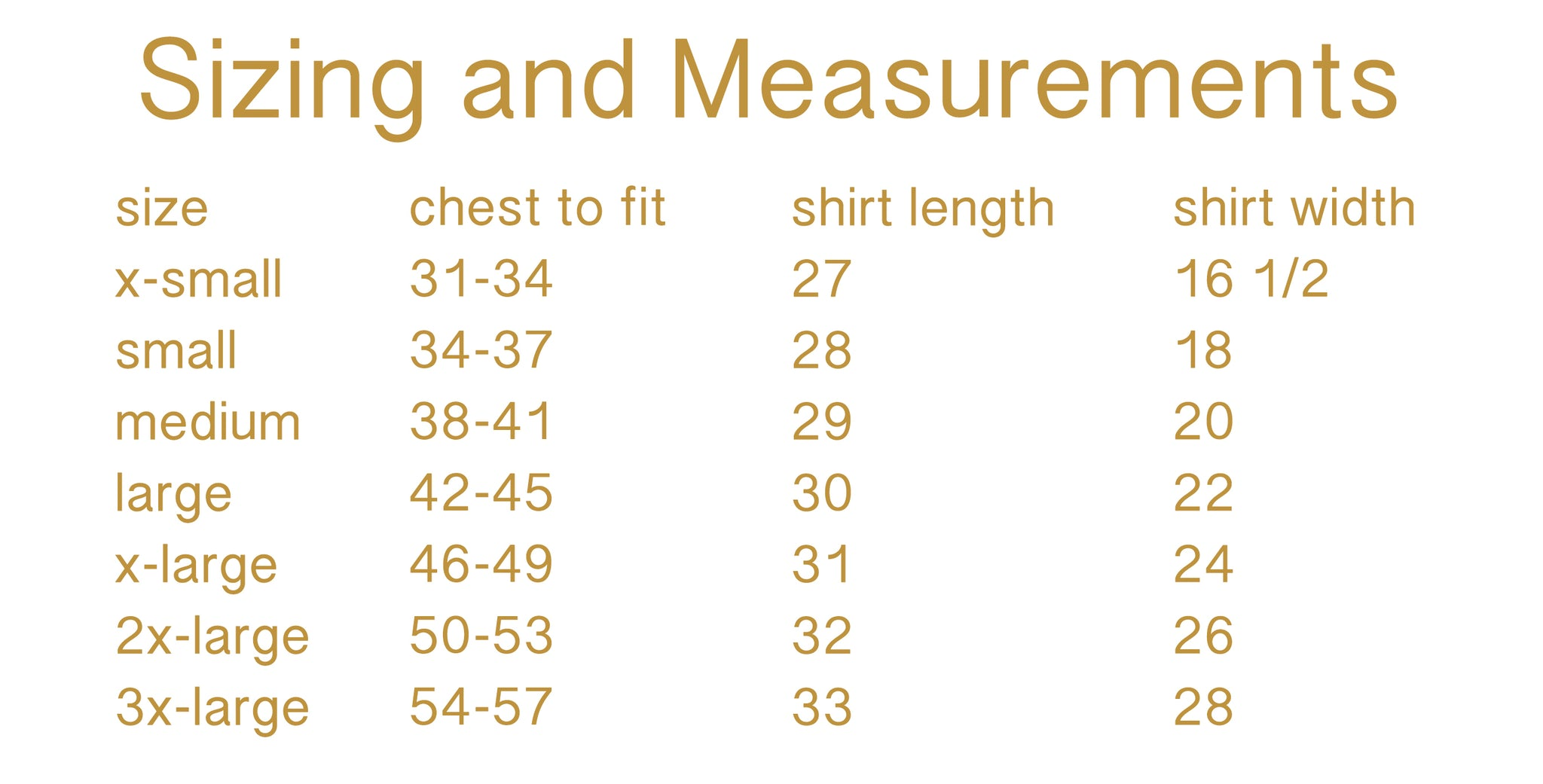 Unisex Tee Sizing Guide - Pretty Collected