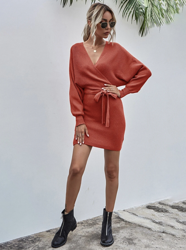 Solid Surplice Front Belted Ribbed Knit Dress Fashion - Red Dress - Thanksgiving Outfit