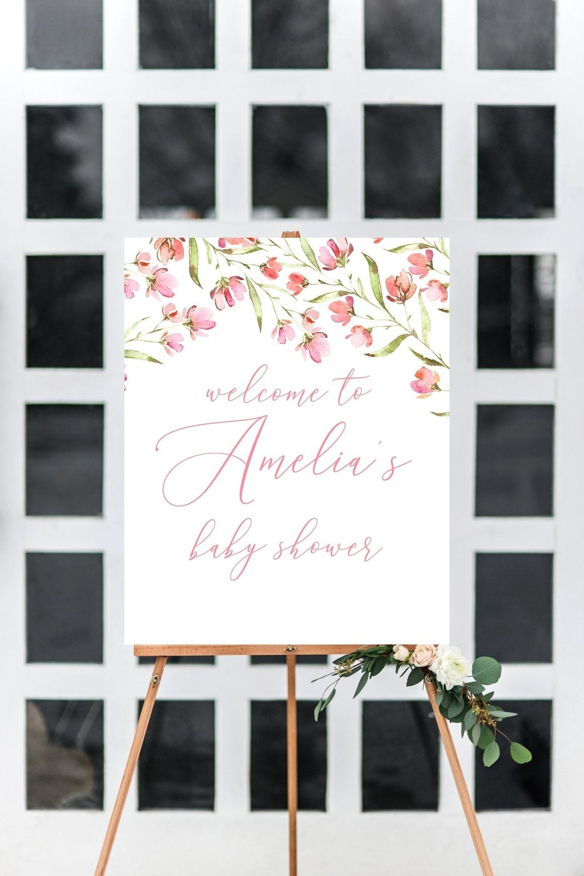 BABY SHOWER WELCOME SIGN - SPRING FLORAL PRINTABLE