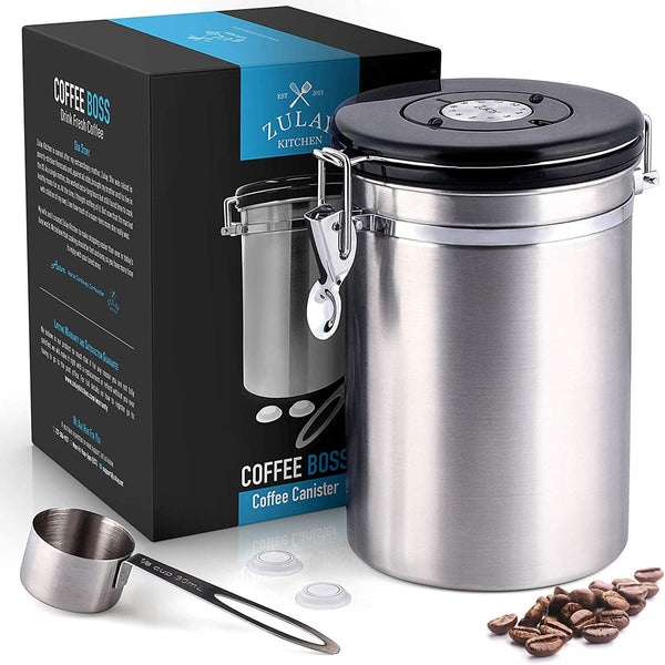 Stainless Steel Coffee Canister with Air Filter and Date Tracking - Coffee - Coffee Beans - Coffee lovers
