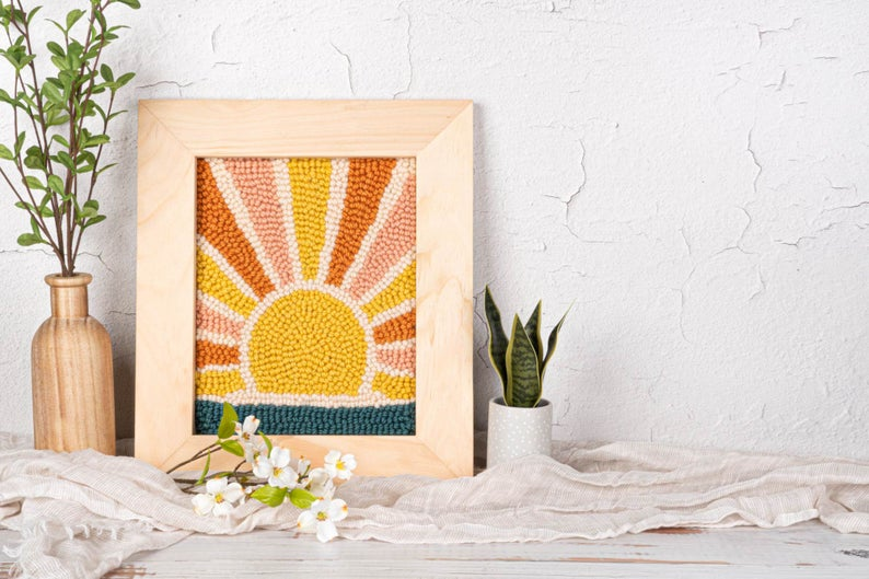 Sunrise Punch Needle Kit   Sunset Punch Needle   Craft Kit For Adults   DIY Crafts   Wall Art   DIY Kit   Christmas Gift   Mothers Day Gift