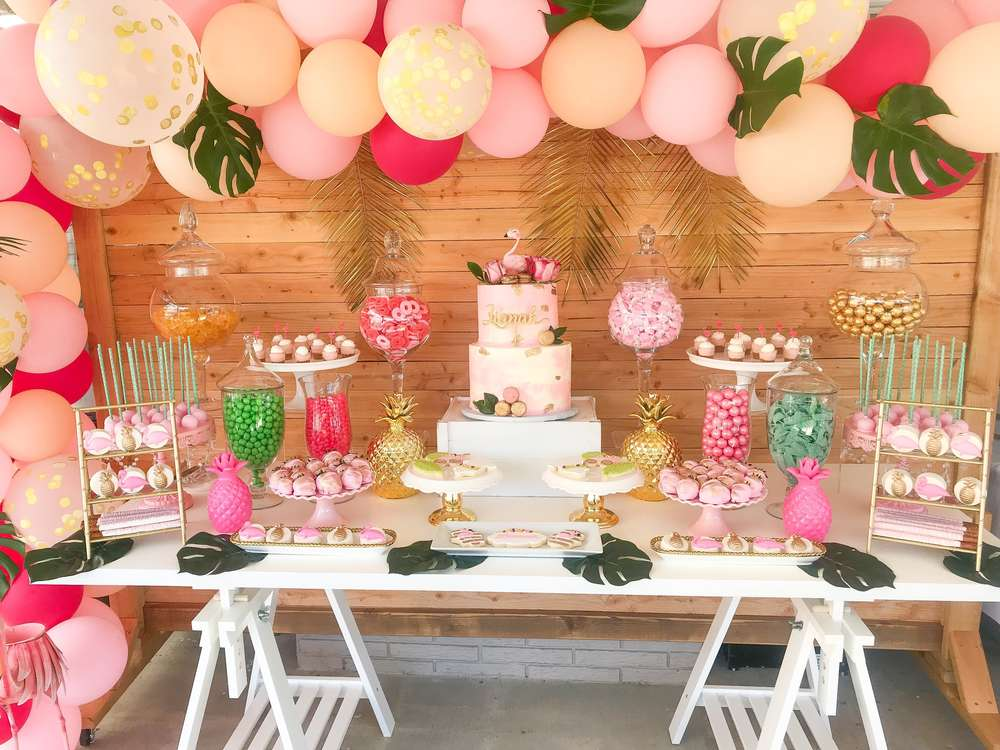 How to Create a Tropical Dessert Bar for your Hawaiian Luau Themed Baby Shower Or Bridal Shower