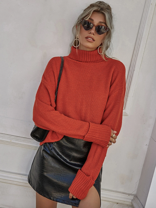 Turtleneck Drop Shoulder Sweater - Fall Outfit - Friendsgiving outfit - Fall Date Night Outfit