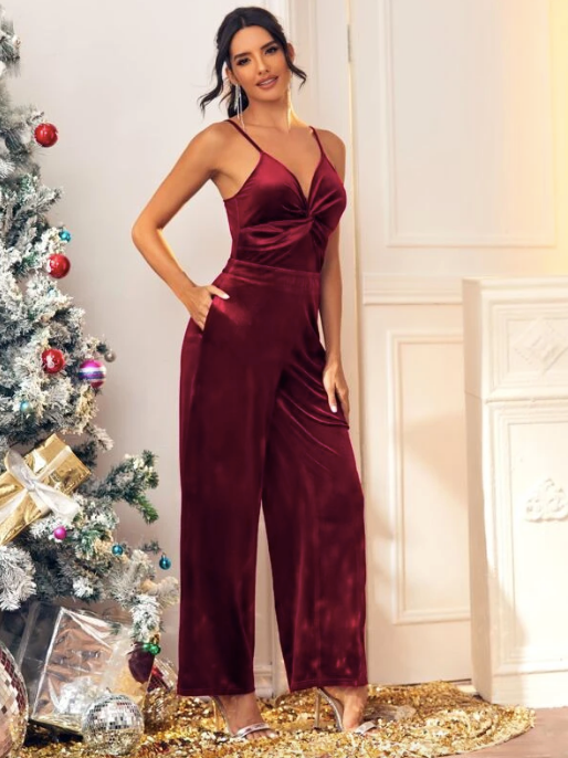 Twist Front Velvet Cami Jumpsuit - Christmas Dress - Fancy Dress