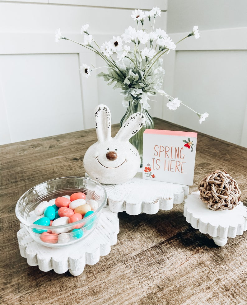 Two Tiered Tray, Tiered Tray, Easter Decor, Rustic Easter, Baby Shower Decor, Spring Decor, Farmhouse Decor, Easter Tier Tray, Kitchen Decor