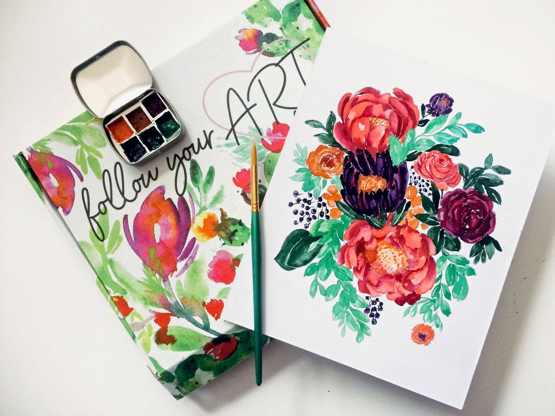 Watercolor for Beginners Easy Art Painting Kit Romantic Florals DIY Flower Paint by Number