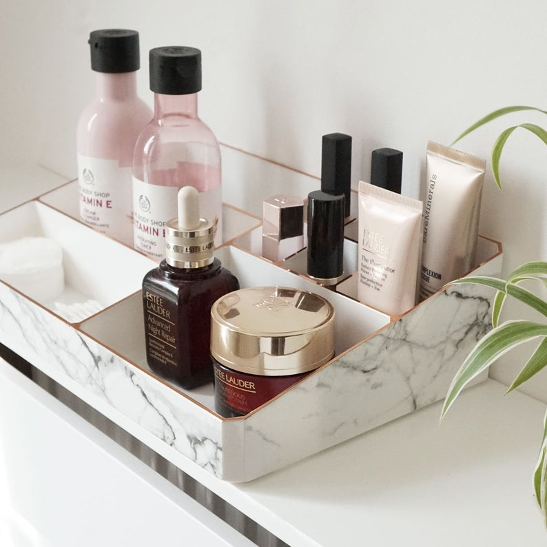 White & Marble Make Up Organizer | Cosmetic Storage Organiser | Gold, Rose Gold and Silver