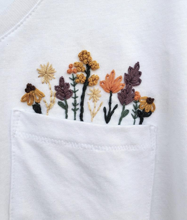 Wild Flower Embroidery Pattern for Shirt - DIY Embroidered Shirt