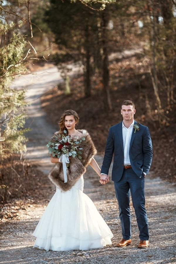 Winter Wedding Photos with Bouquet