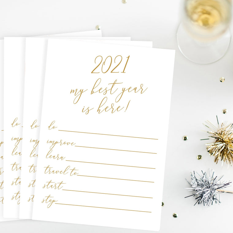2021 New Year's Resolution Card Printable - Pretty Collected