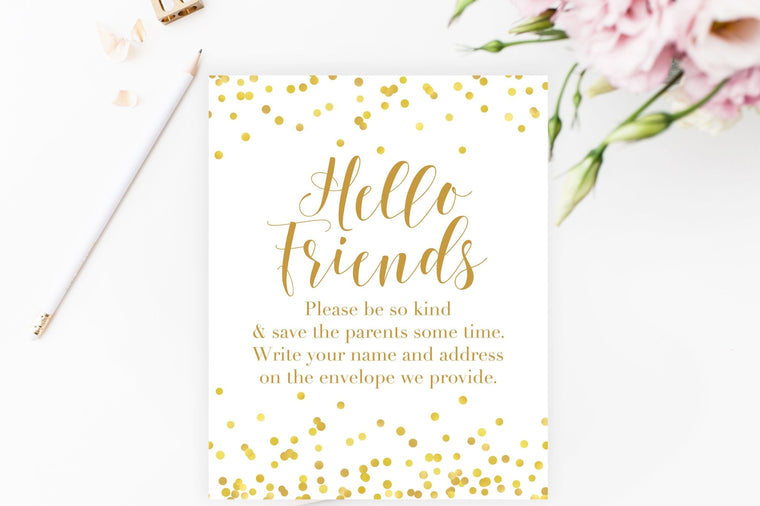 Address the Envelopes Sign - Gold Confetti Printable - Pretty Collected