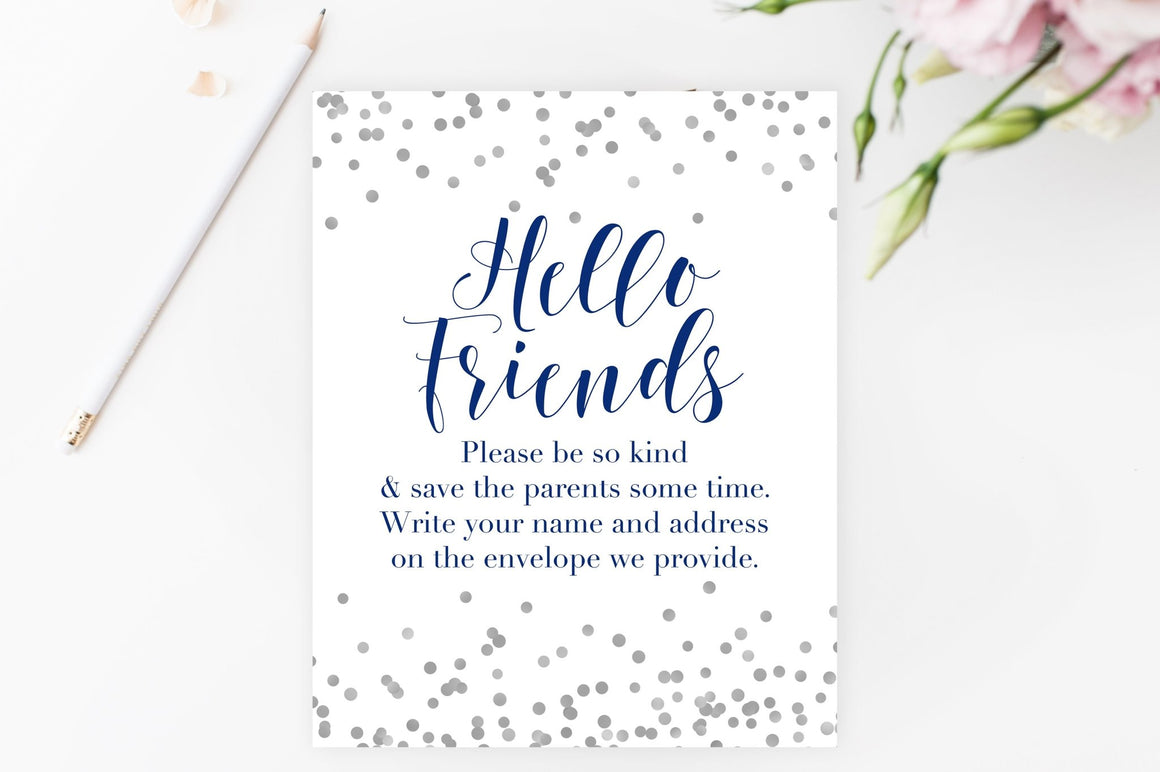 Address the Envelopes Sign - Navy & Grey Confetti Printable - Pretty Collected