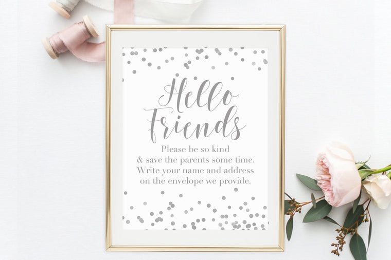 Address the Envelopes Sign - Grey Confetti Printable - Pretty Collected