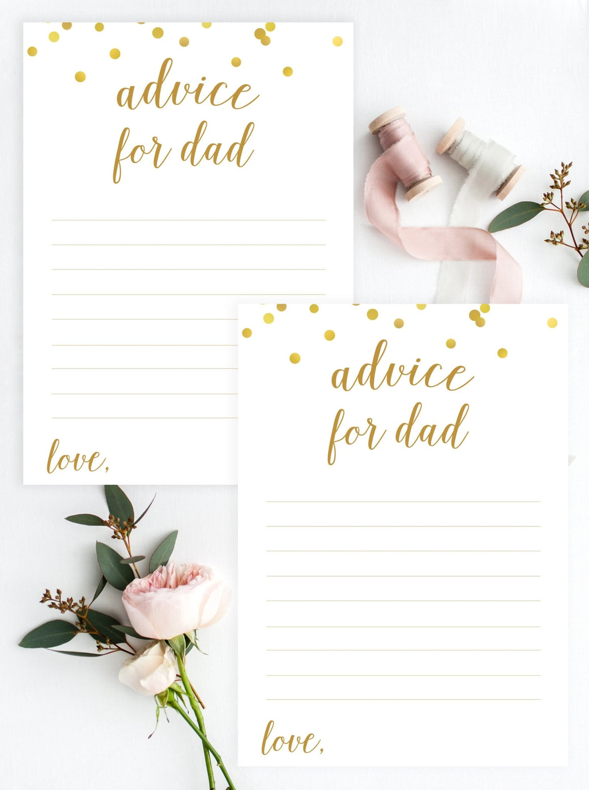 Advice for Dad - Gold Confetti Printable - Pretty Collected