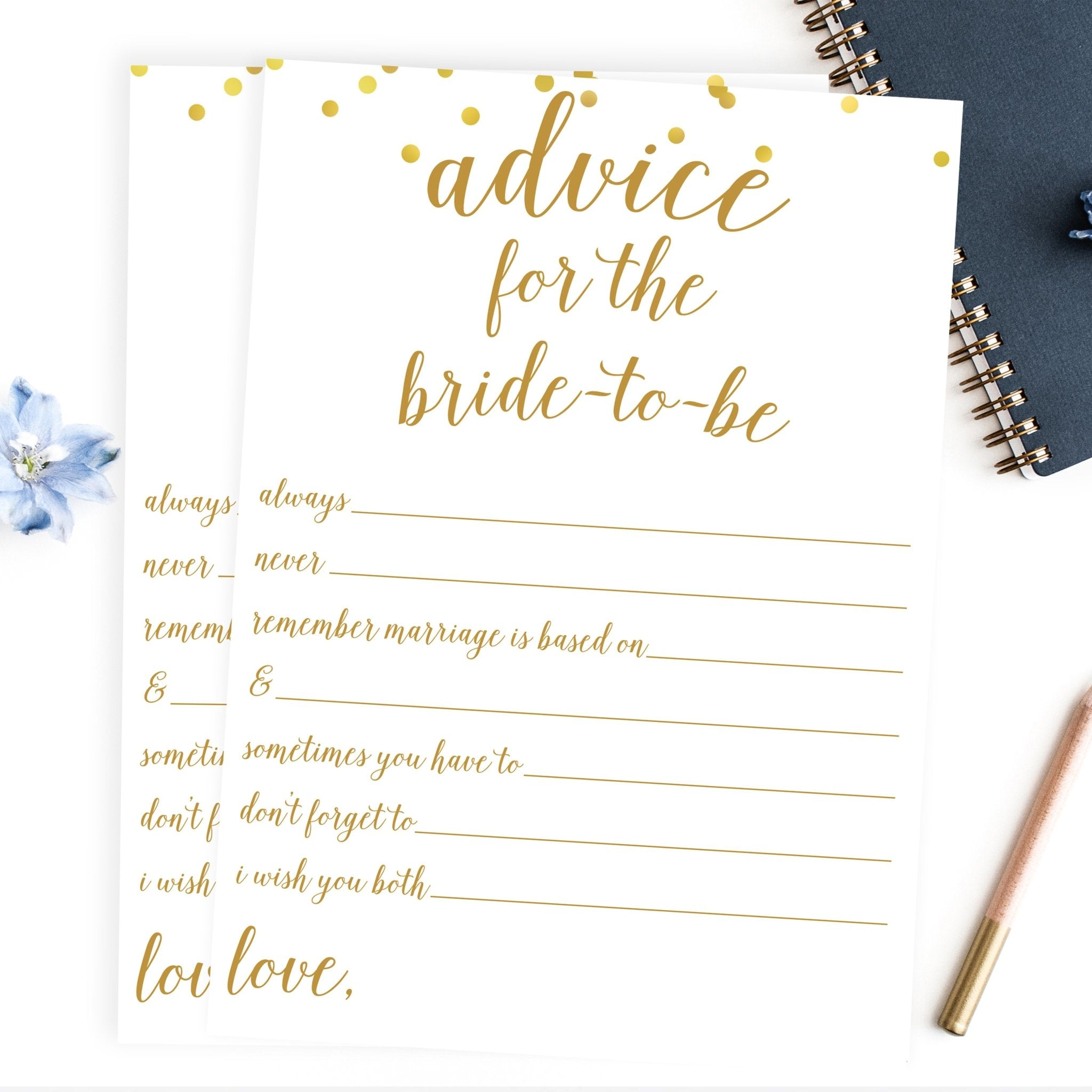 Advice For The Bride To Be Statements Gold Confetti Printable Pretty Collected
