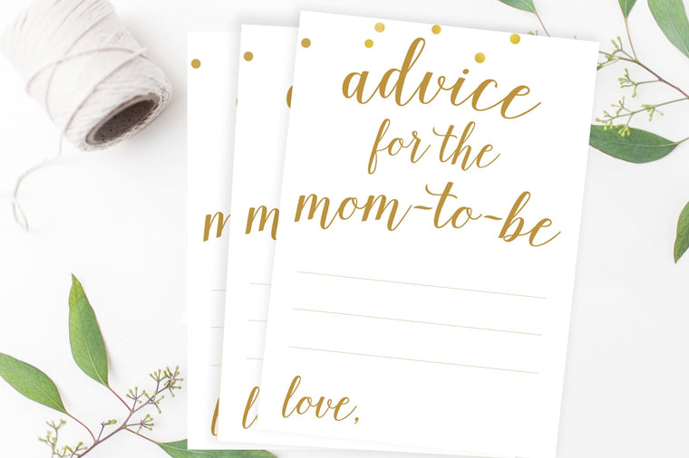 Advice for Mom-To-Be - Gold Confetti Printable - Pretty Collected