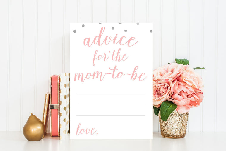 Advice for Mom-To-Be - Pink & Grey Confetti Printable - Pretty Collected