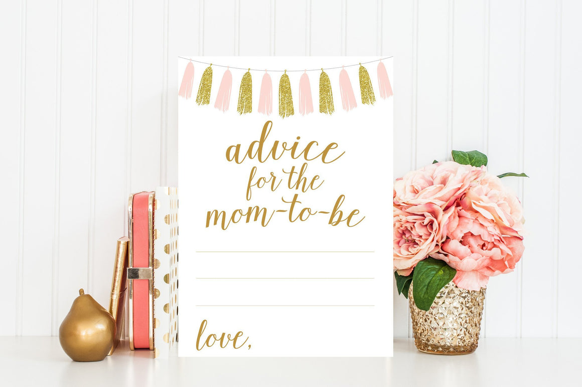 Advice for Mom-To-Be - Pink & Gold Tassel Printable - Pretty Collected